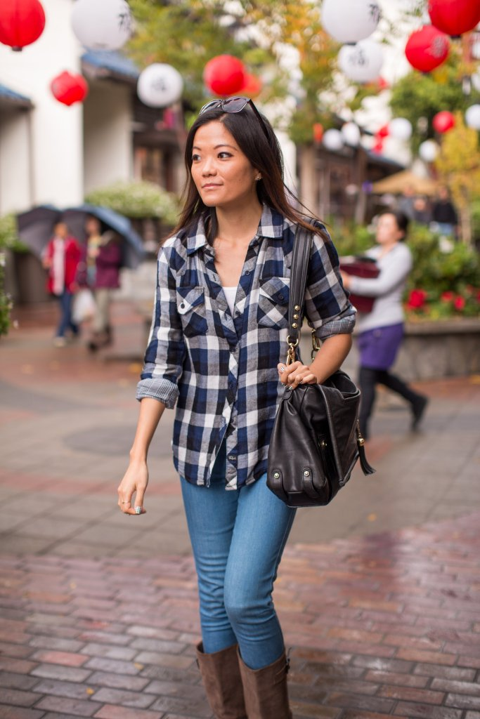 Keeping warm in my Rails LA flannel on a wet day in downtown's Little Tokyo Plaza.