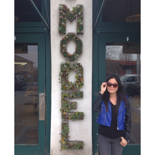 Model Behavior at The Model Bakery in Napa. How cool is their planter box sign? Little succulents make up their signage. http://www.themodelbakery.com
