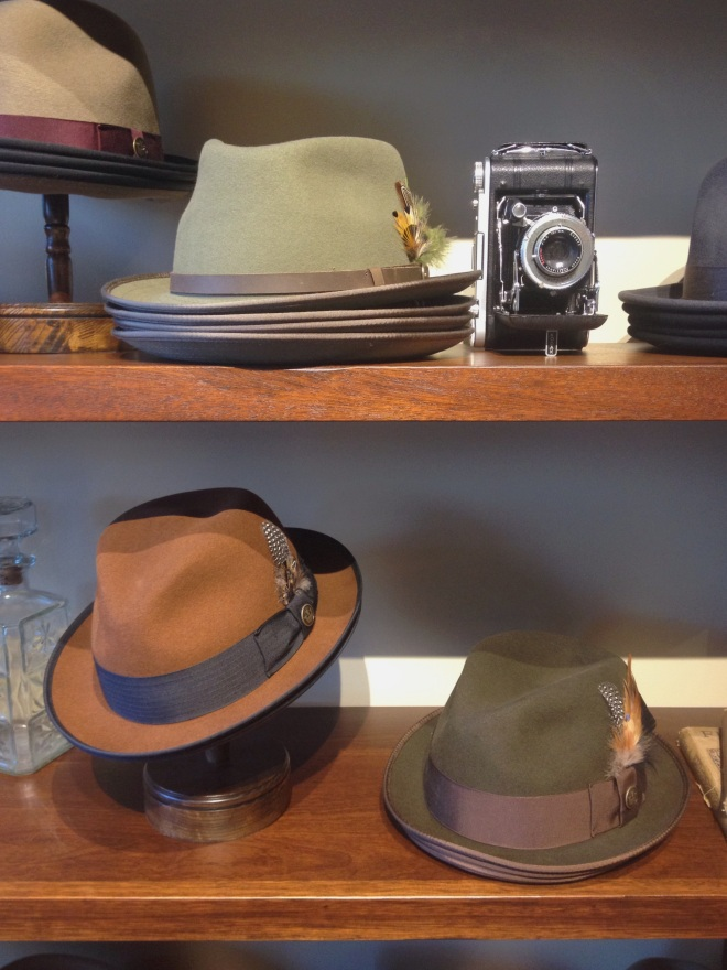 Classic fedoras. The majority of their hats are wool.