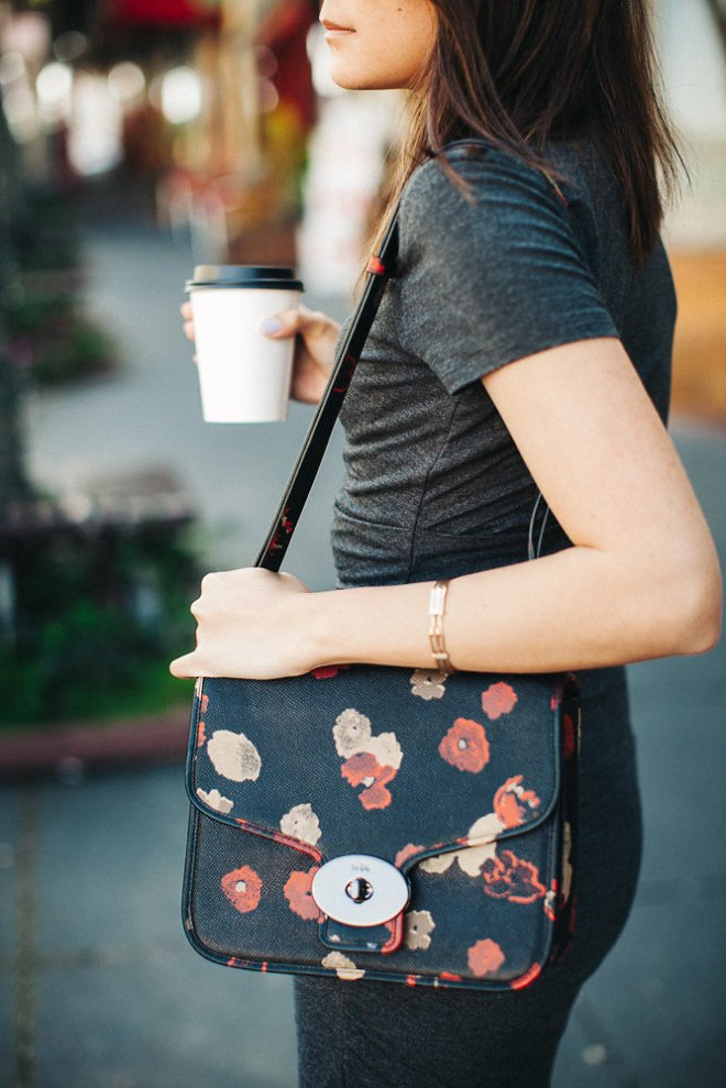 Coach Page Flap Leather Floral Shoulder Bag & some Farley's Coffee