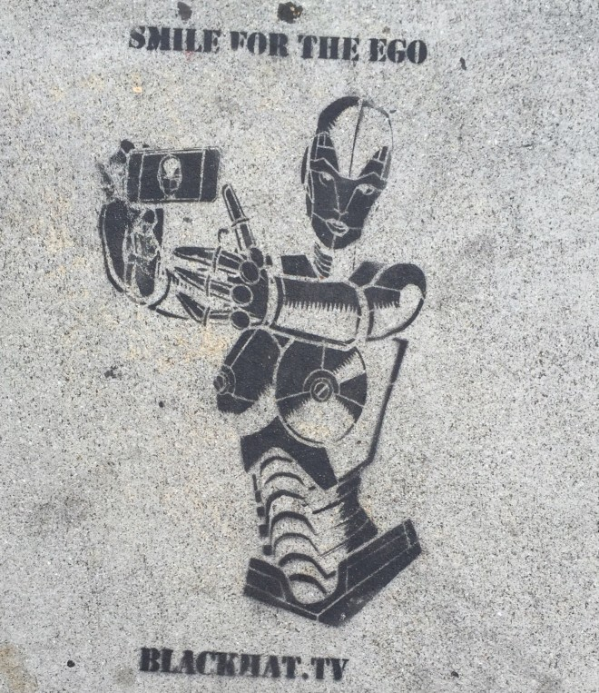 Smile for the ego. Always. #Butfirstletmetakeaselfie. Graffiti art found on Sunset and Bates.