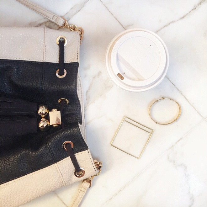 Some of this week's newest neutrals: Deux Lux Bag, Epona Square Bracelet courtesy of Cradle Jewelry, Vintage Gold Bracelet, and of course may cup of joe.