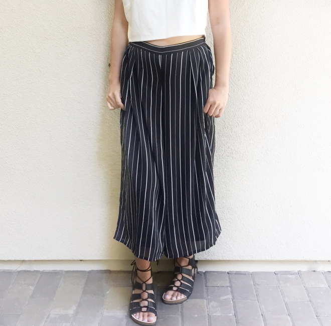 Proof you can wear culottes with flats, these sandals are from Loeffler Randall.