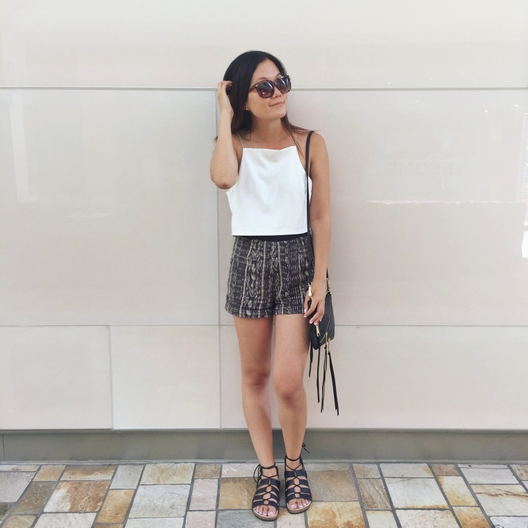 Roaming downtown Honolulu in search of snacks. Wearing a Lulu's crop top and Loeffler Randall Gladiators.