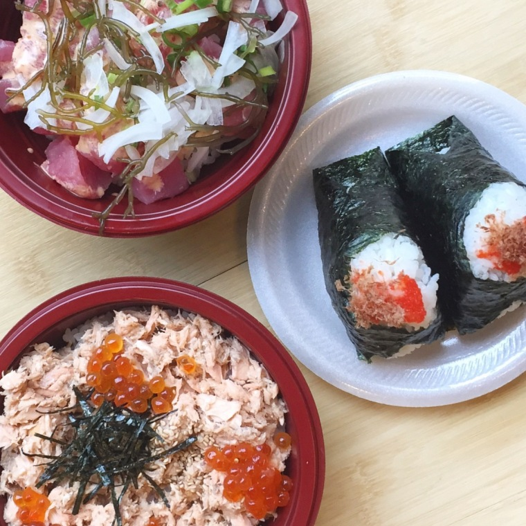 Poke bowls and musubi from Musubi Cafe. I think we we went there 3 times...I could eat there every day.