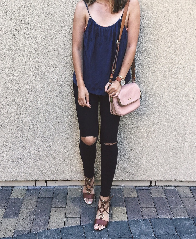 outfit pink fossil ootd