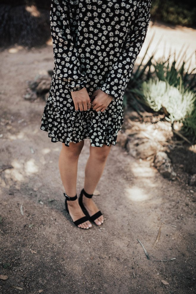 Open toe shoes || Daisy Print Dress