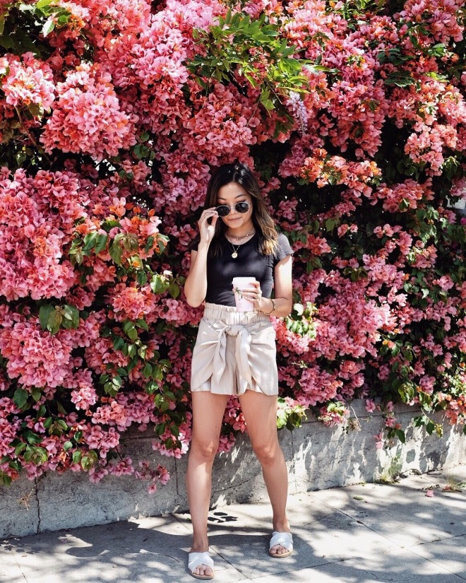 Pink bougainvillea and spring outfit insp